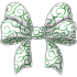 Green and White Swirled Bow