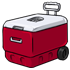 Red Rolling Cooler